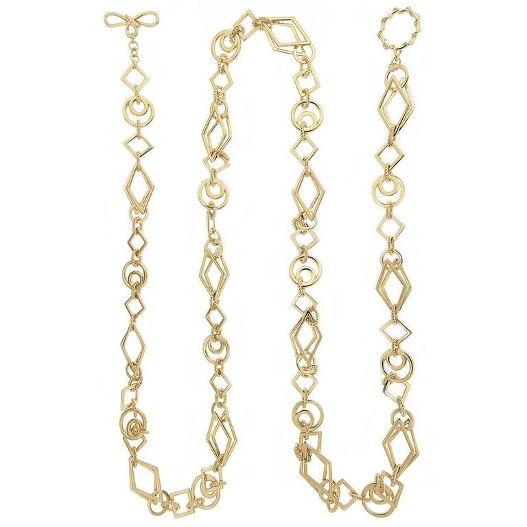 Long Gold Geometric Shaped Links Necklace 1