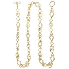 Long Gold Geometric Shaped Links Necklace