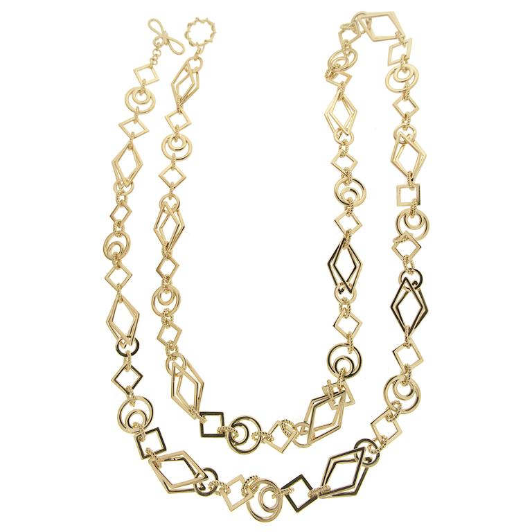 Long Gold Geometric Shaped Links Necklace 2