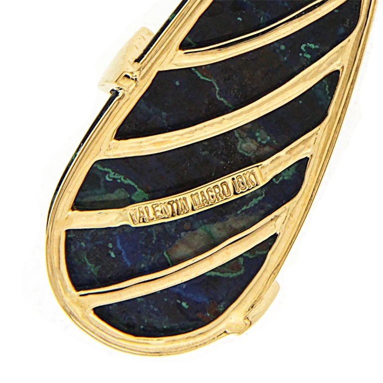 Women's or Men's Chrysocolla Malachite Gold Earrings with Pave Diamond Circles For Sale