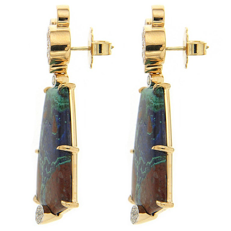 Azurite Malachite Earrings with Pave Diamond Circles In New Condition For Sale In New York, NY