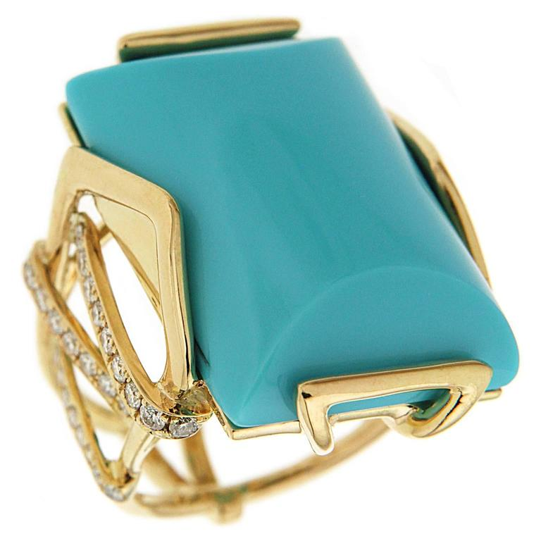 Valentin Magro Large Special Cut Turquoise Diamond Gold Solitaire Ring