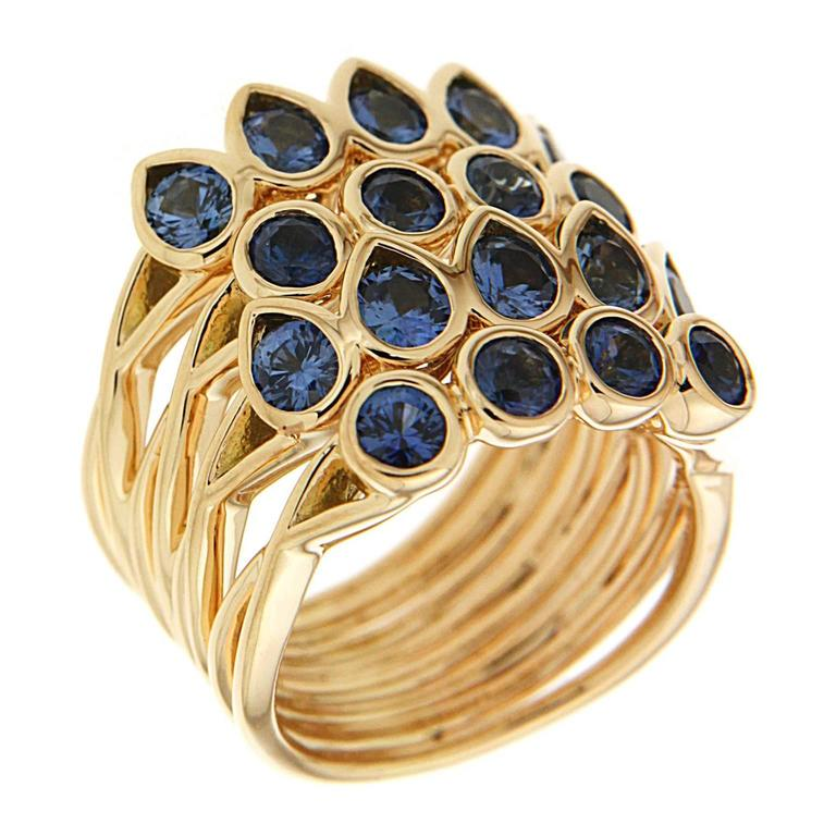 Pear Shape and Round Sapphire Gold Multi-Band Stacking Ring 2