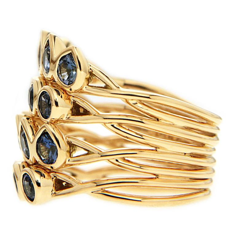 Pear Shape and Round Sapphire Gold Multi-Band Stacking Ring 3