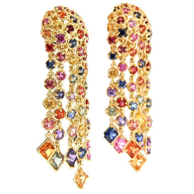 Multicolor Sapphire Cascading Waterfall Earrings 3