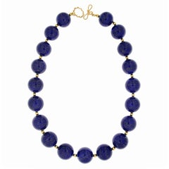 Lapis Lazuli and Gold Ball Necklace