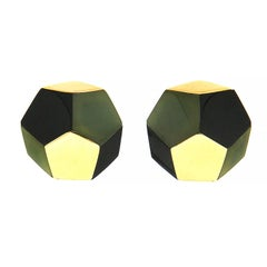 Valentin Magro Pentagon Black and Green Jade Inlay Gold Earrings