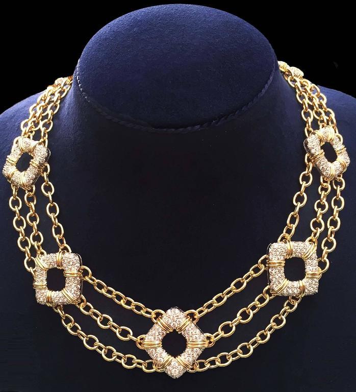 Nautical Motif Diamond Pave Gold Platinum Necklace 2