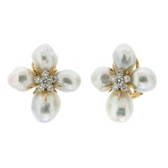 Baroque Pearl Flower Cluster Earrings with Diamonds