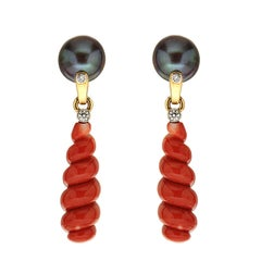 Spiral Coral Earrings with Tahitian Pearls