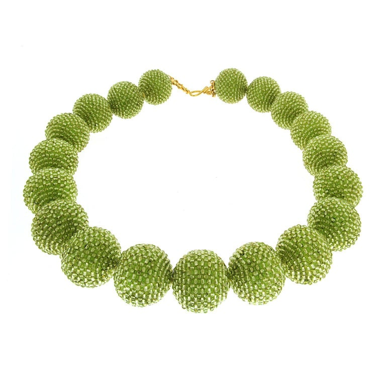 Valentin Magro Large Peridot Gold Woven Ball Necklace For Sale