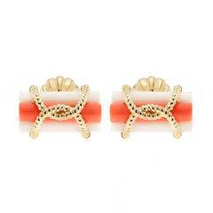 Triple Coral Tube Gold Wire Cufflinks