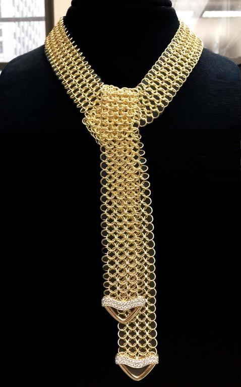 Unique Diamond Gold Multi-Wear Necktie Mesh Necklace 3