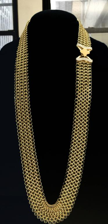 Unique Diamond Gold Multi-Wear Necktie Mesh Necklace 4