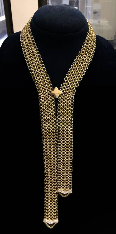Unique Diamond Gold Multi-Wear Necktie Mesh Necklace 5