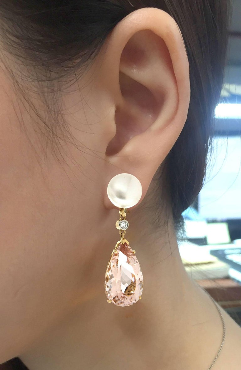 Valentin Magro Button Pearl Diamond Morganite Yellow Gold Drop Earrings In As New Condition For Sale In New York, NY
