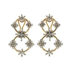 Valentin Magro Circo dei Fiori Diamond Gold Circle Link Earrings