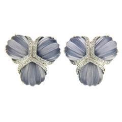Triple Fan Chalcedony Diamond Gold Earrings