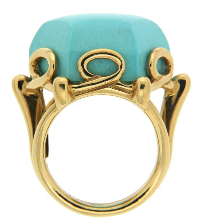 Rare Hexagon Geometric Turquoise Gold Ring 2