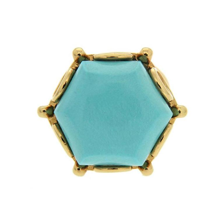Rare Hexagon Geometric Turquoise Gold Ring 3