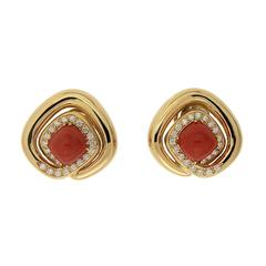 Cushion Coral Overlapping Diamond Wrap Earrings