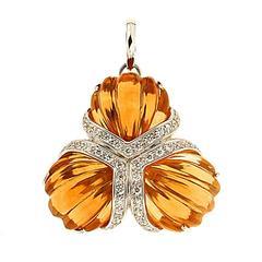Triple Fan Carved Citrine Diamond Pendant