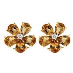 Valentin Magro Pear Shape Cluster Citrine Earrings with Centre Diamond