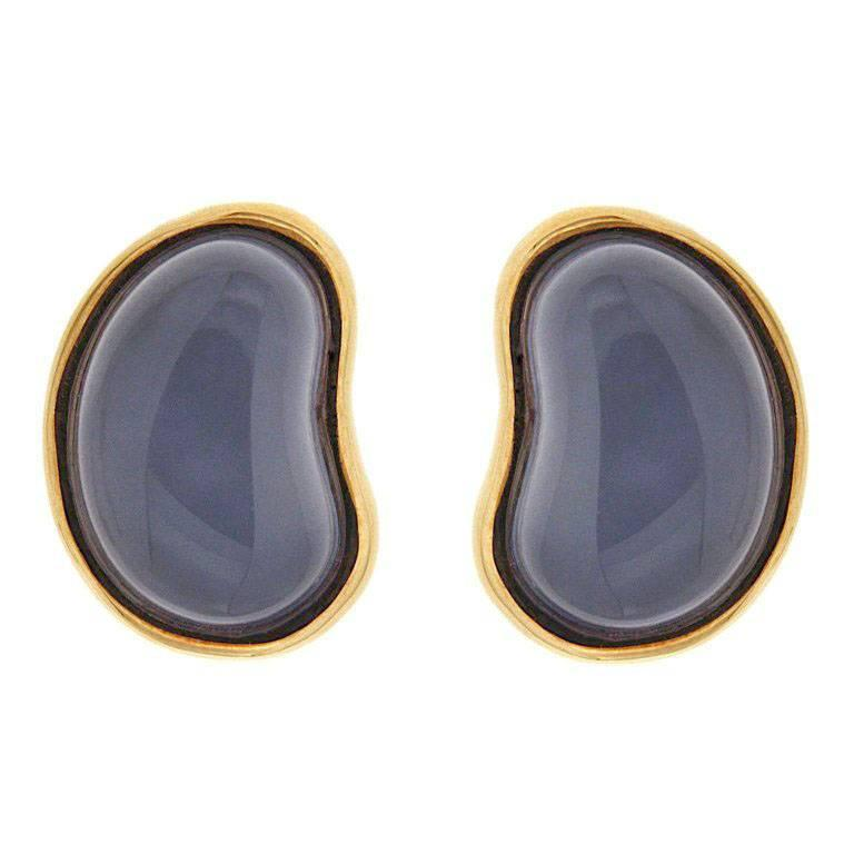 Valentin Magro Special Cut Chalcedony Bean Gold Earrings For Sale