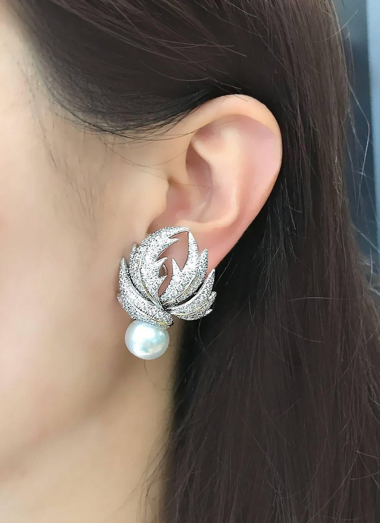 Valentin Magro Diamond Pave Multi-Leaf Earrings   In As new Condition For Sale In New York, NY