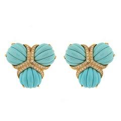 Triple Fan Turquoise Diamond Gold Earrings