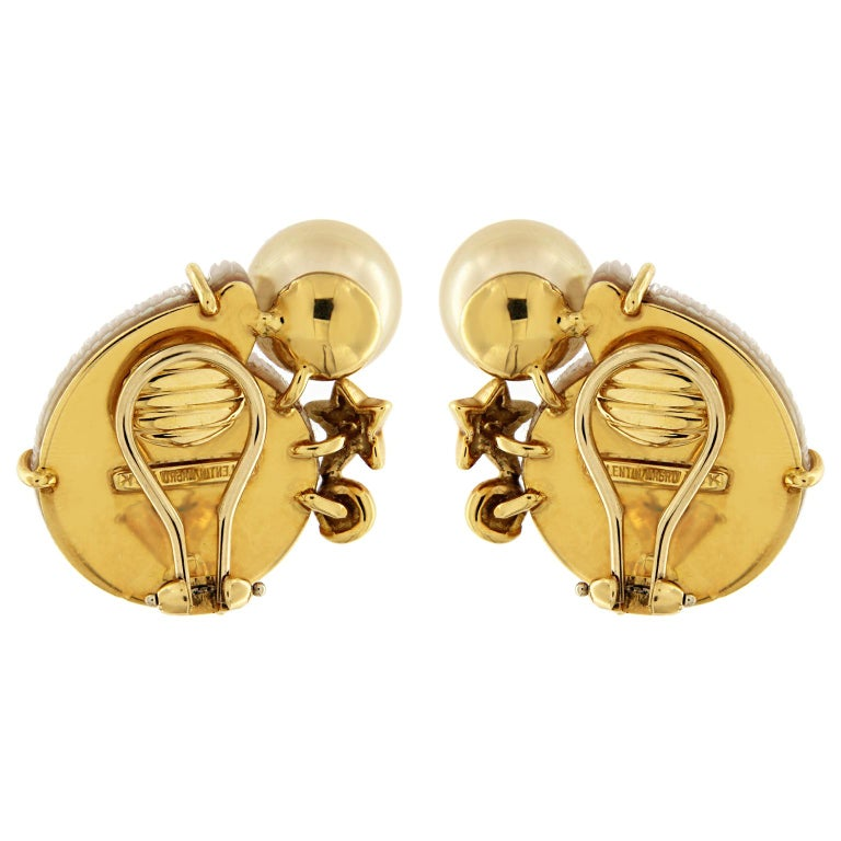 Crystal Snail Colored Stone Yellow Pearl Gold Earrings In New Condition For Sale In New York, NY