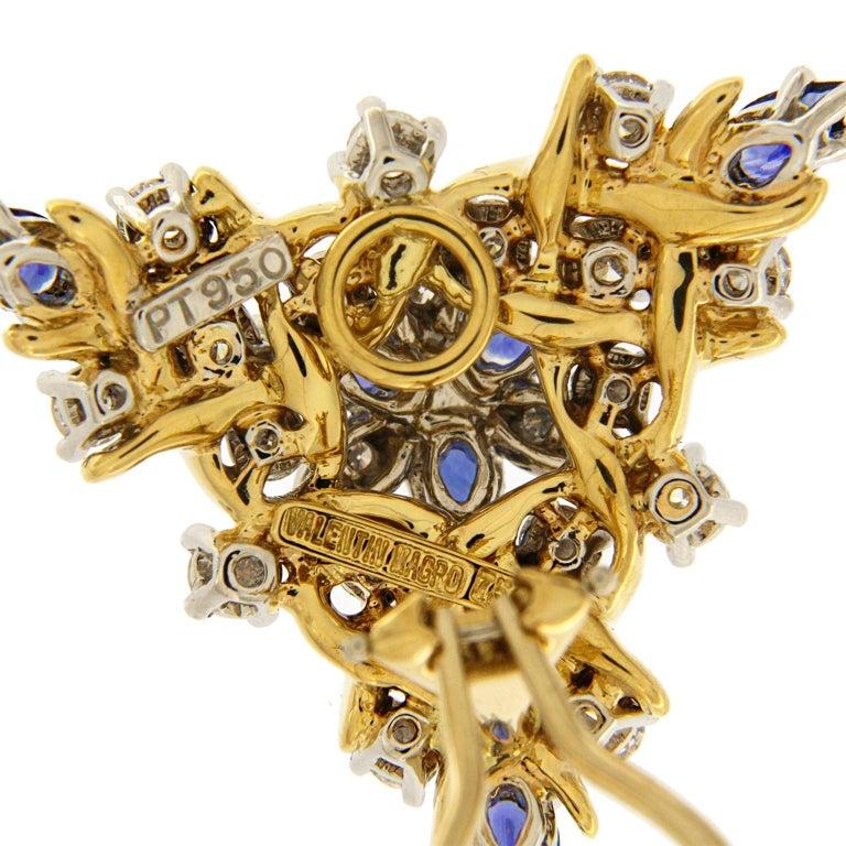 Women's Sapphire Diamond Gold Triangular Vine Earrings For Sale