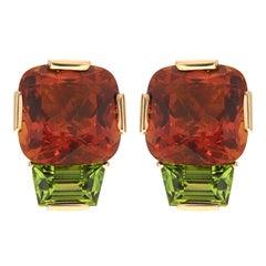 Citrine Peridot Gold Earrings