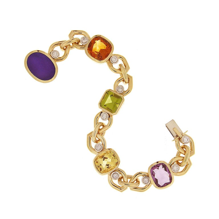 Multi-Color Stone Link Bracelet with Beryl, Lapis, Madeira Citrine and Peridot 2