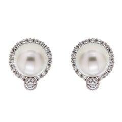 Valentin Magro South Sea Pearl Diamond Platinum Earrings