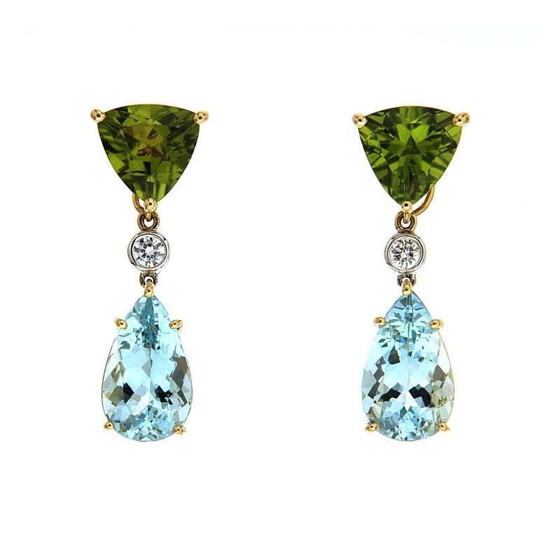 Peridot Aquamarine Diamonds Gold Drop Earrings For Sale