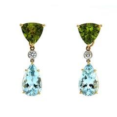 Peridot Aquamarine Diamonds Gold Drop Earrings