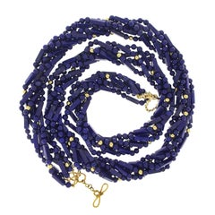 Five Strands of Long Tube and Round Ball Lapis Lazuli with Gold Balls Necklace