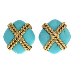 Valentin Magro Turquoise Criss Cross Earrings with Twisted Wire