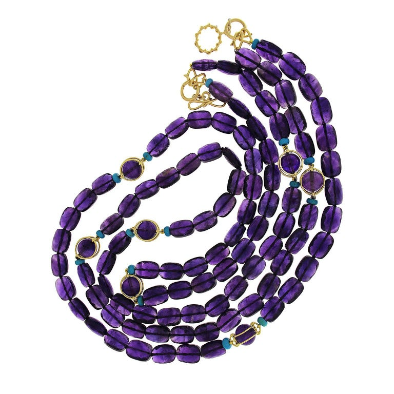 Valentin Magro  Double Strands Amethyst Doppio and Turquoise Rondelle Necklace