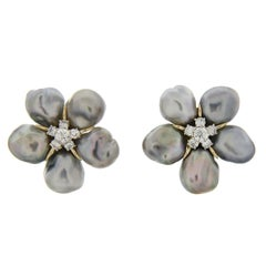 Cluster Silver Grey Keshi Pearl Diamond Earrings