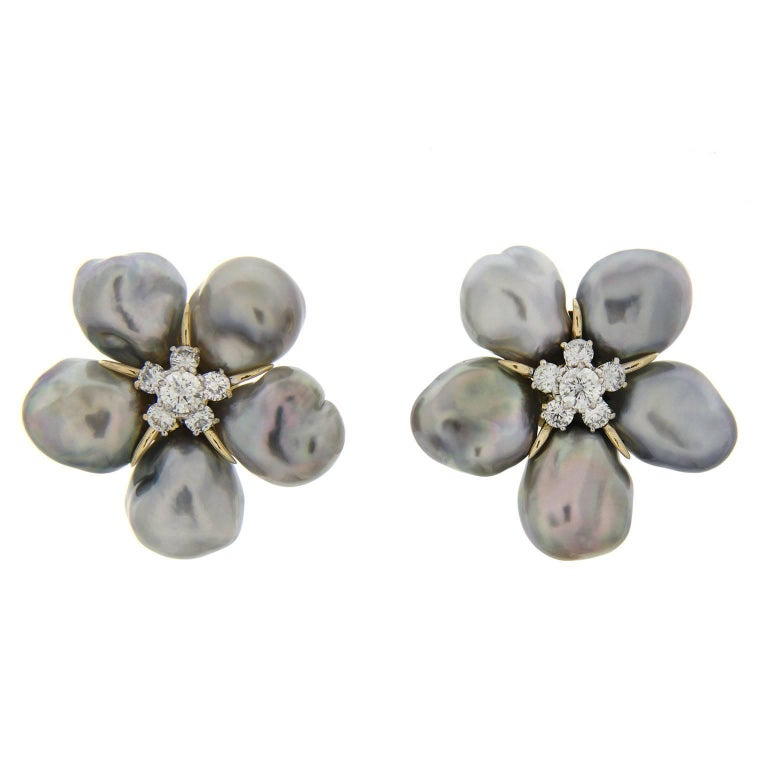 Valentin Magro Cluster Silver Grey Keshi Pearl Diamond Earrings