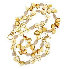 Valentin Magro Multi Strands Necklace of Citrine and Pearl