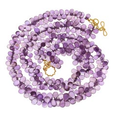 Multi Strands of Faceted Amethyst Briolettes Necklace