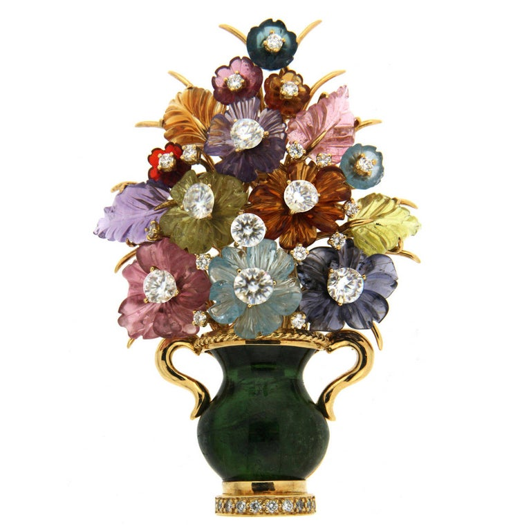 Carved Flower Citrine Diamond Gold Brooch