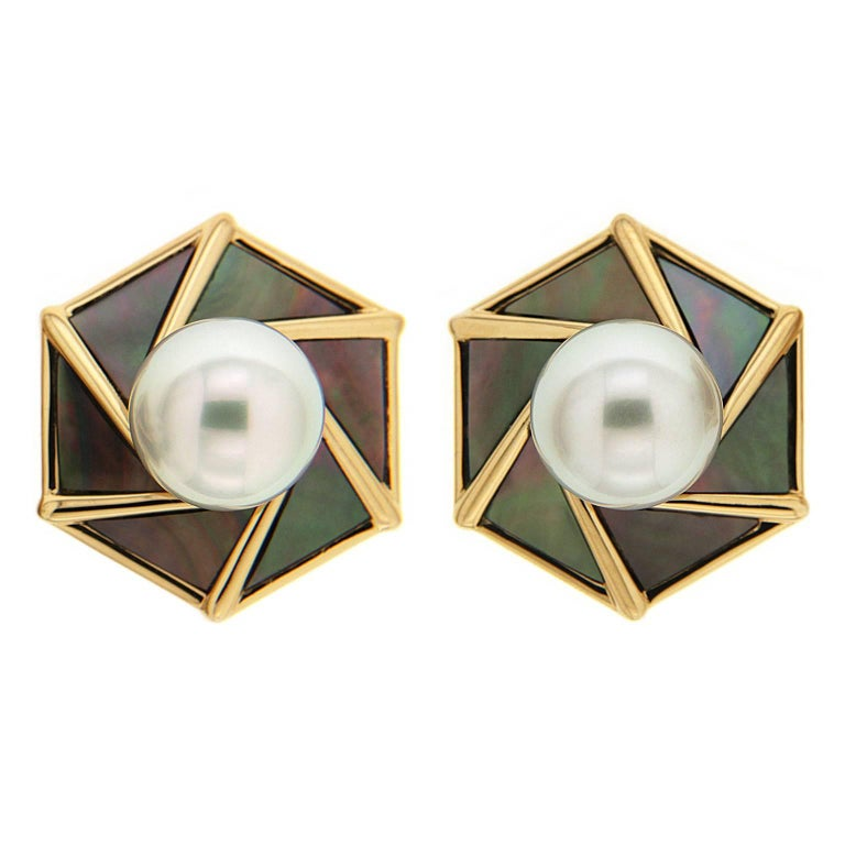 Valentin Magro South Sea Pearl With Mother Of Earrings For