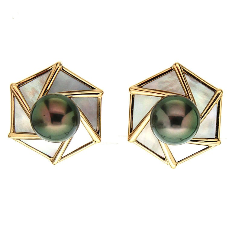 Valentin Magro Tahitian Pearl White Mother-of-Pearl Gold Earrings