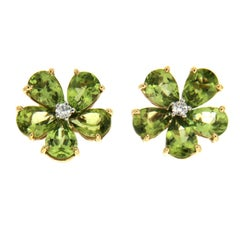 Valentin Magro Pear Shaped Peridot Cluster Earrings