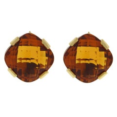 Valentin Magro Checkerboard Citrine Gold Earrings