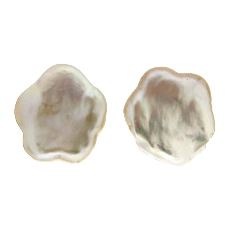 Valentin Magro Cultured Flat Pearl Earrings For